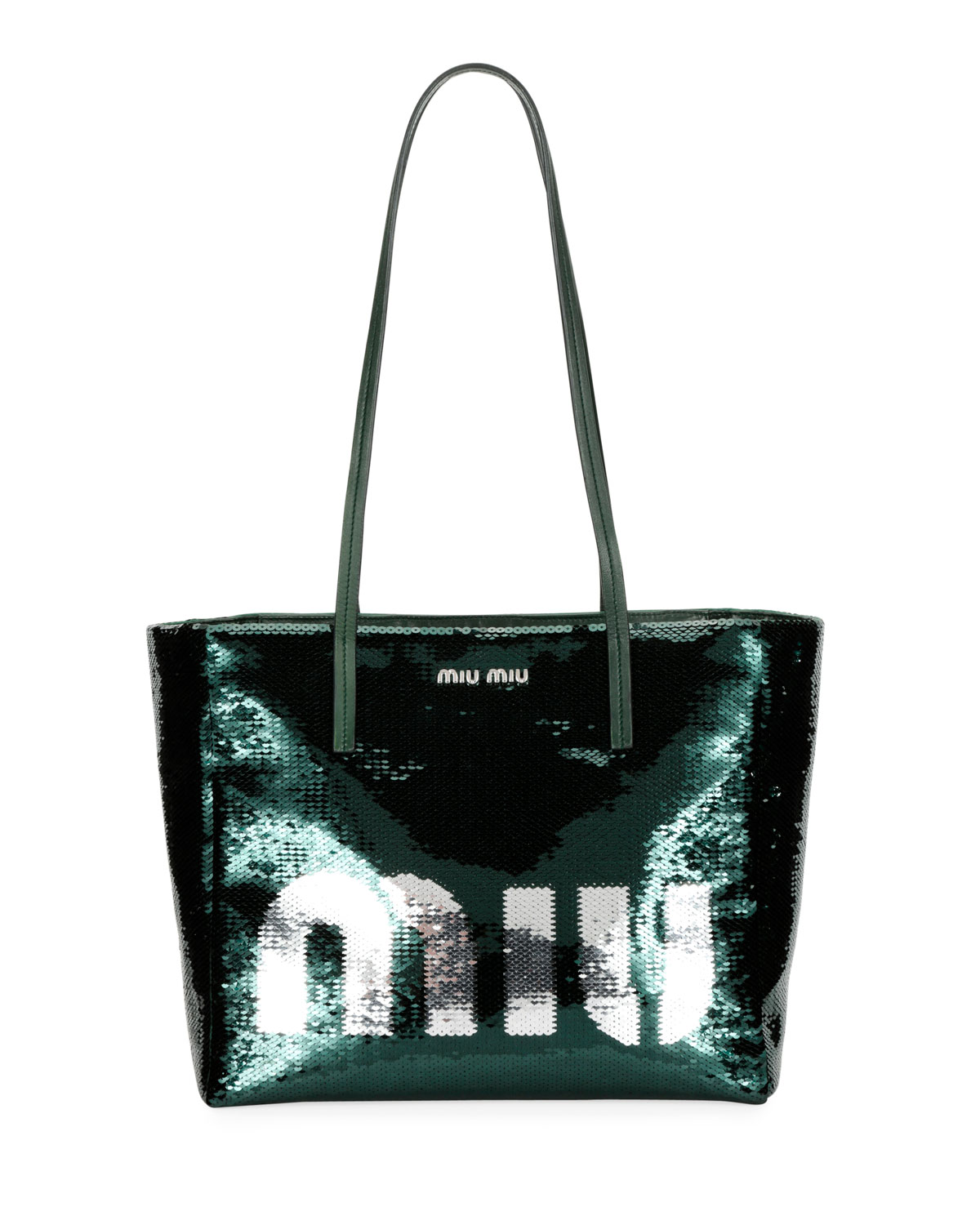 Logo Paillettes Shoulder Tote Bag in Green