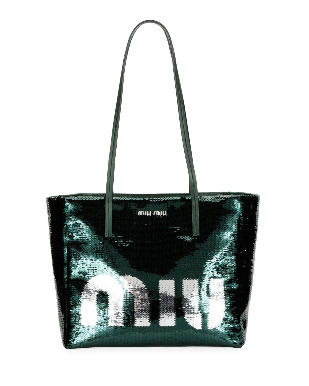 MIU MIU Logo Paillettes Shoulder Tote Bag, Green Pattern