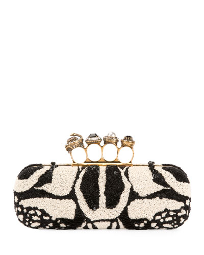 Bug Embroidered Four-Ring Knuckle Box Clutch Bag