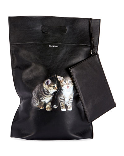 Plast Small Leather Shopper Tote Bag with Kitten Animal Graphic