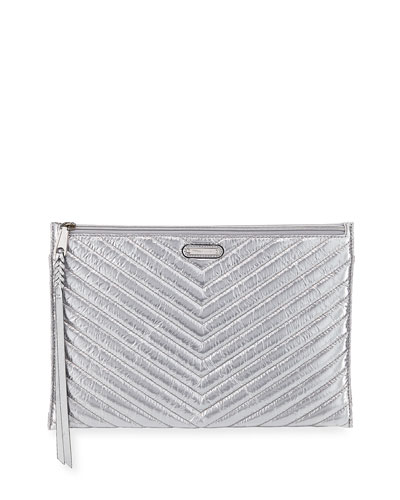 Large Quilted Metallic Zip Clutch Bag