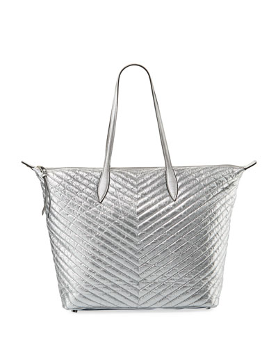 Quilted Metallic Tote Bag