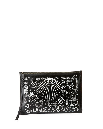 Graffiti Zip Clutch Bag