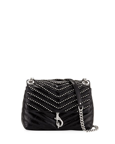 Edie Flap Studded Leather Crossbody Bag