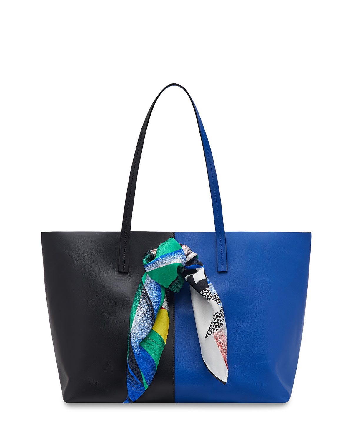 Colorblock Leather Shoulder Tote Bag with Logo Scarf