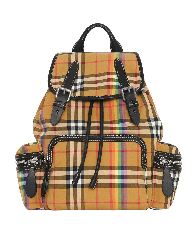 Medium Rucksack Vintage Check Cotton Backpack - Beige in Neutrals