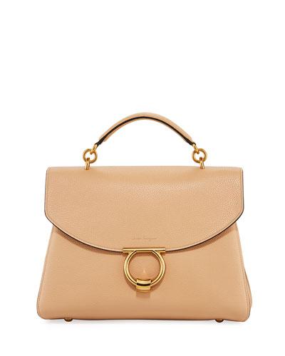 Margot Medium Top Handle Bag, Almond/Beige