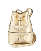 Salvatore Ferragamo Gancio City Metallic Leather Bucket Bag