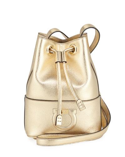 Gancio City Metallic Leather Bucket Bag