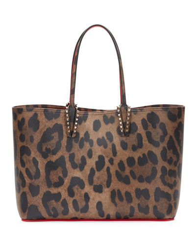 Quick Look Louboutin Cabata Empire Leopard Print Leather Tote Bag