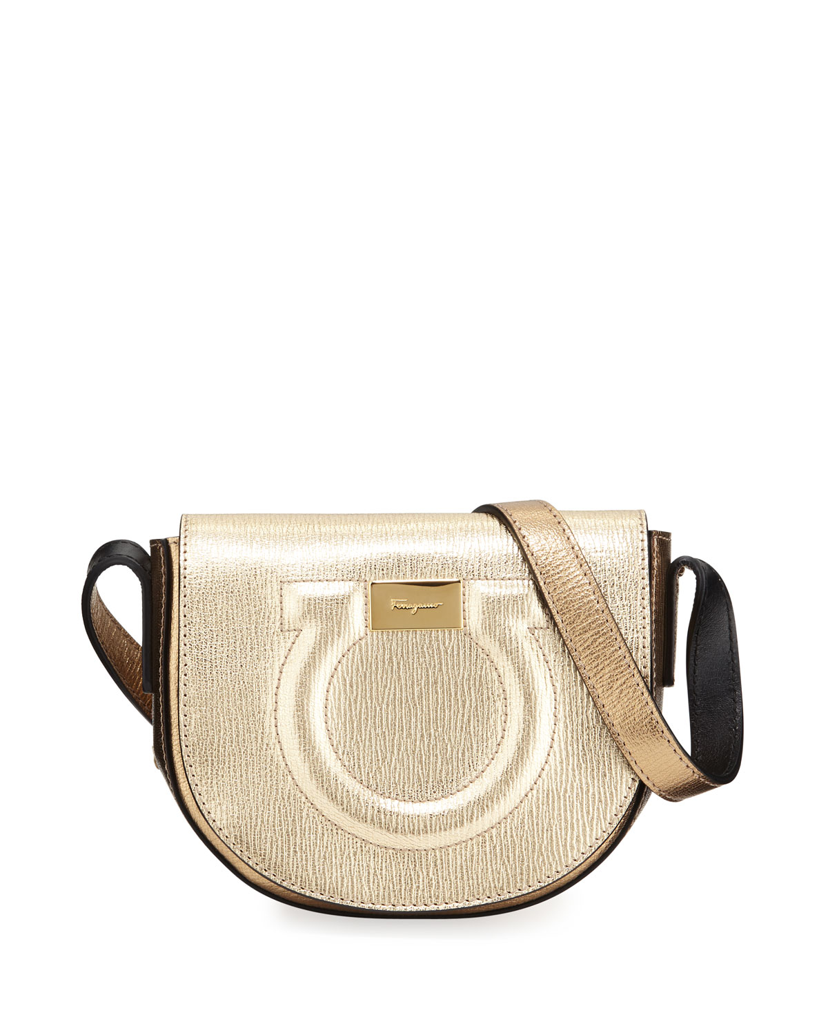 Salvatore Ferragamo Gancio City Metallic Crossbody Bag In Gold ... 8190a51b1313e