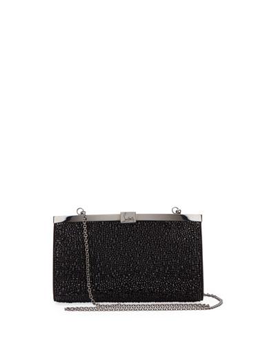 Palmette Small Crystal Suede Clutch Bag