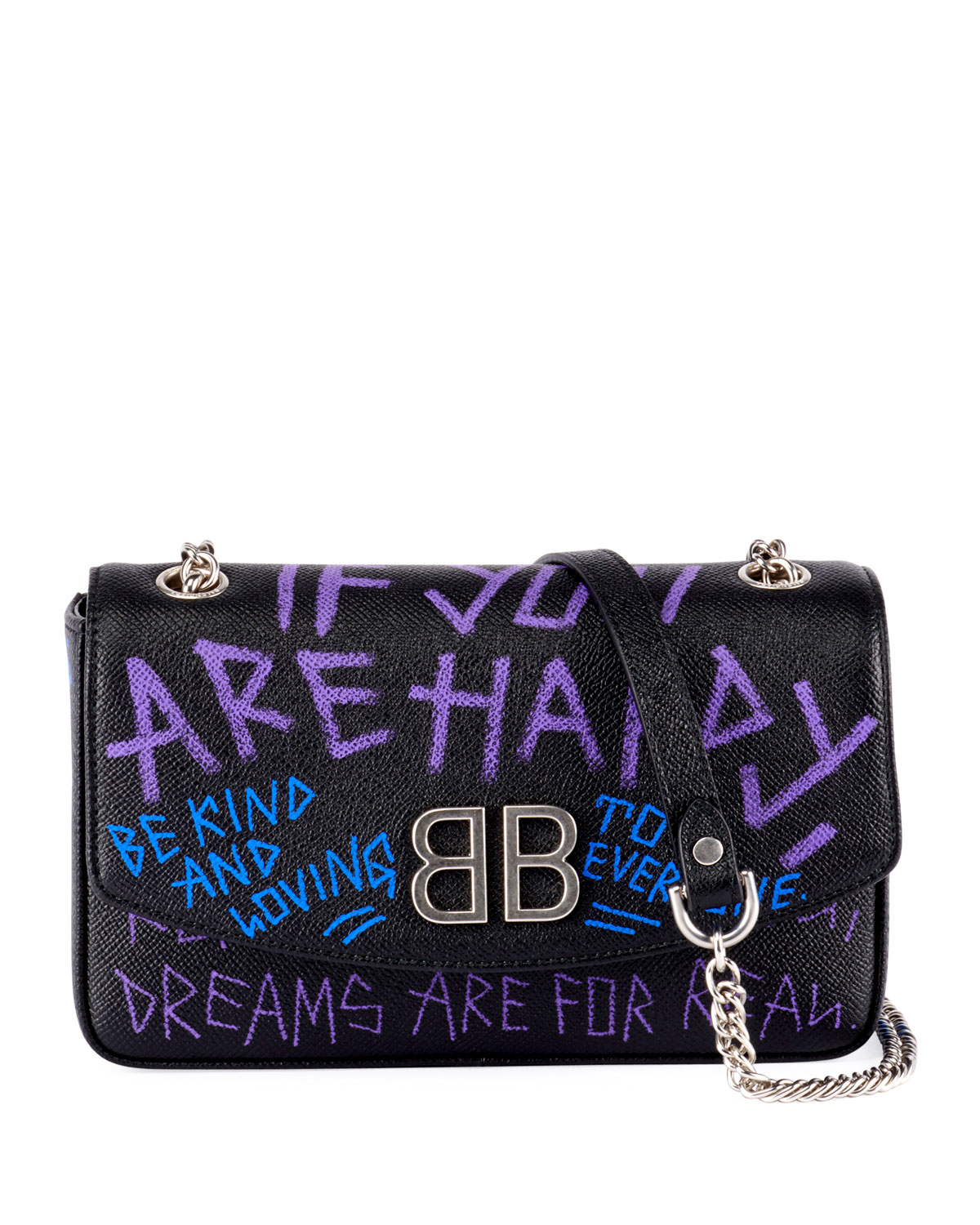 BB 'If you are happy' Graffiti Leather Wallet on Chain