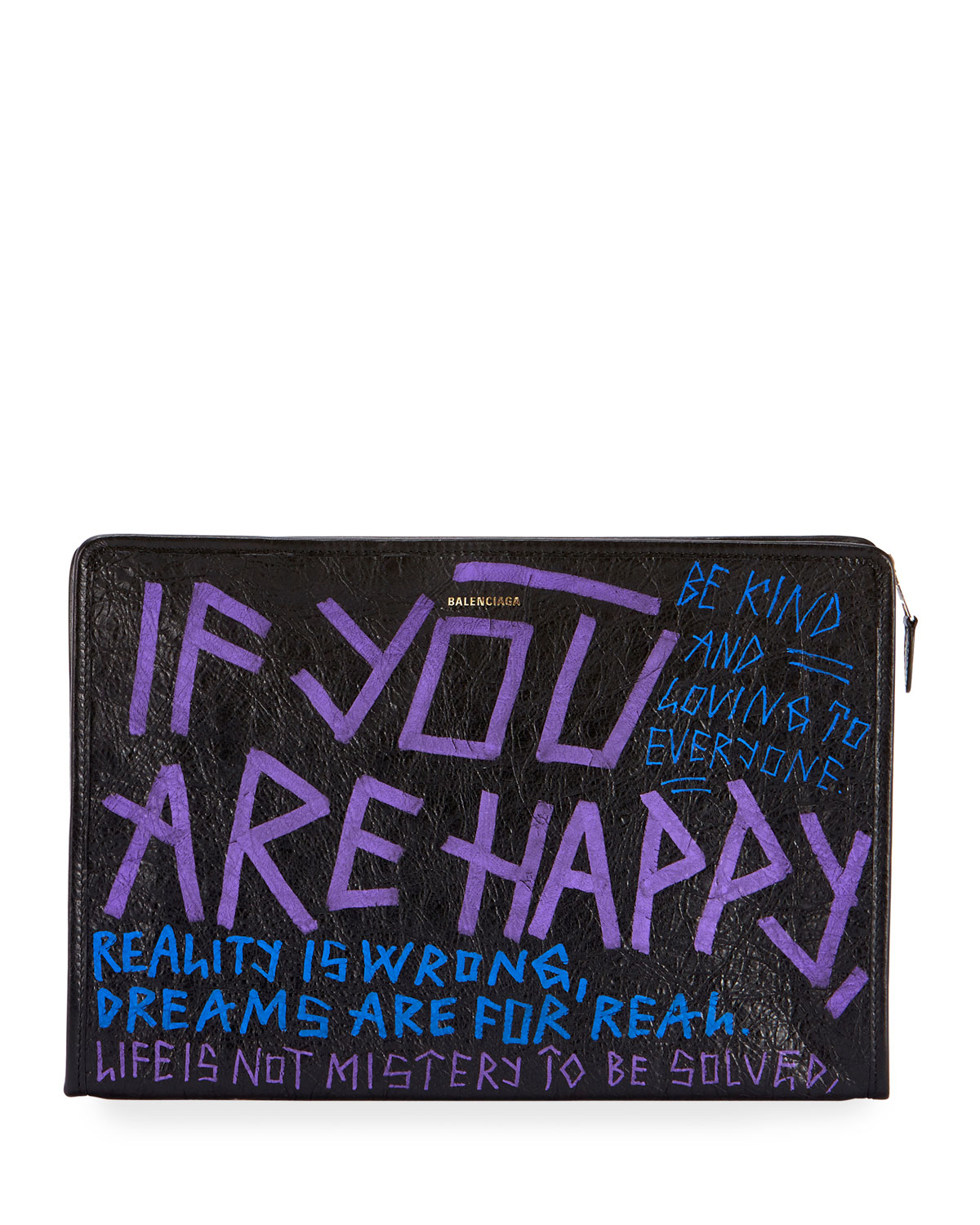 Bazar 'If you are happy, be kind' Graffiti Leather Pouch Bag