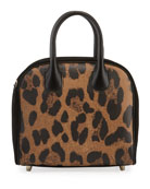 Christian Louboutin Marie Jane Small Leopard-Print Calf Satchel