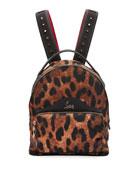 Christian Louboutin BackLoubi Small Leopard-Print Nylon Backpack