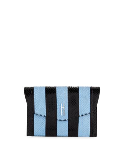 Bobby Glazed Python Clutch Bag