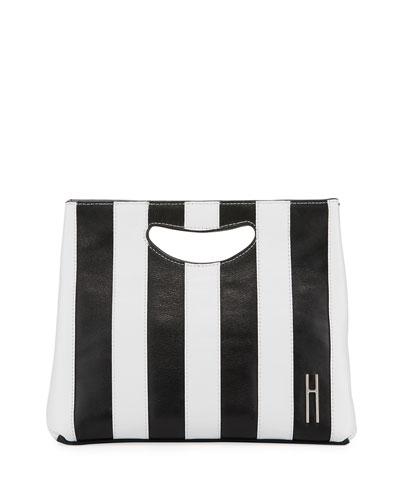 1712 Striped Smooth Basket Clutch Bag