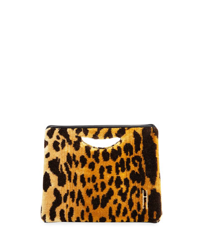 1712 Leopard Brocade Basket Clutch Bag