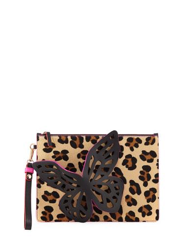 Flossy Glitter Butterfly Pochette Clutch Bag