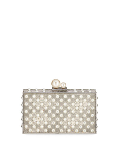 Clara Crystal Pearly Box Clutch Bag