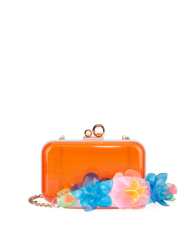 Vivi Jumbo Lilico Acrylic Box Clutch Bag, Orange