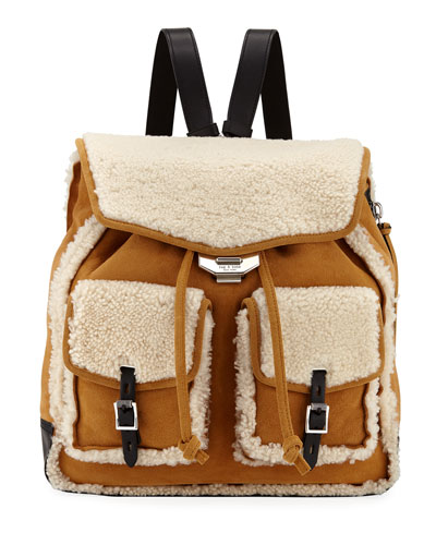Field Shearling and Suede Backpack