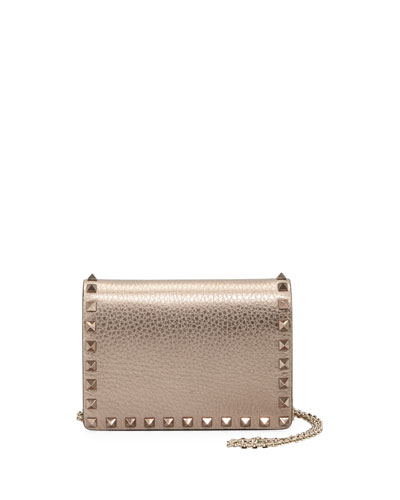 Rockstud Metallic Leather Crossbody Pouch Bag