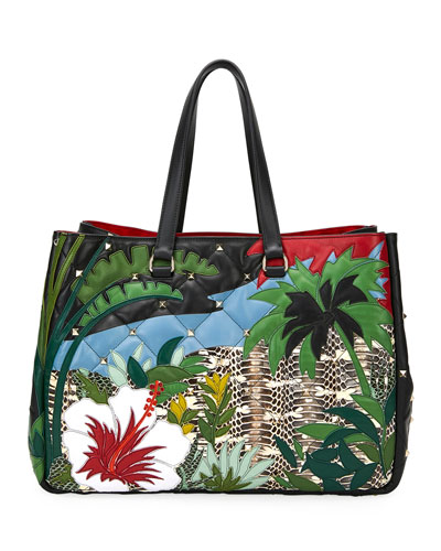 Boomstud Tropical Leather & Snakeskin Tote Bag