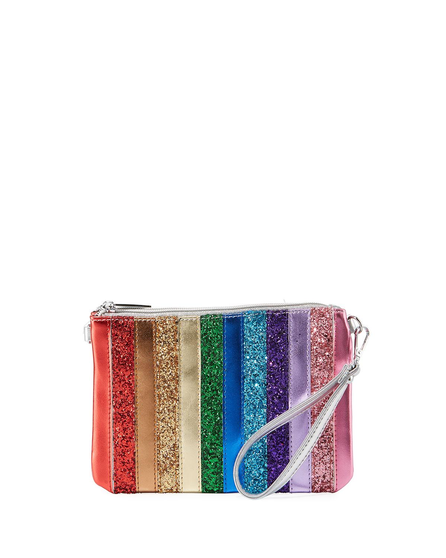 GIRLS' RAINBOW STRIPE SPARKLE CLUTCH BAG from Neiman Marcus