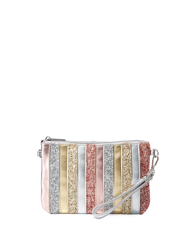 GIRLS' STRIPE SPARKLE CLUTCH BAG from Neiman Marcus