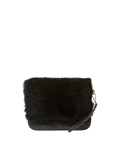 Girls' Fur Clutch Bag, Black