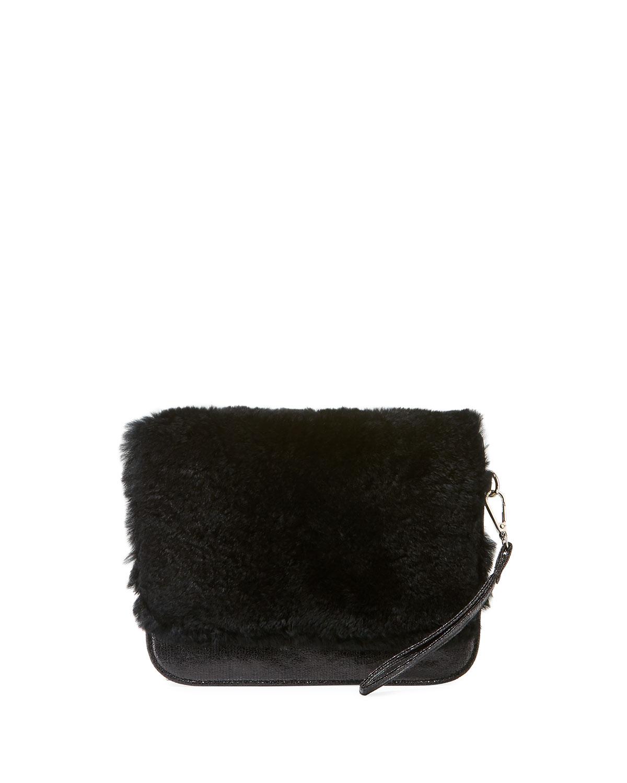 GIRLS' FUR CLUTCH BAG, BLACK from Neiman Marcus