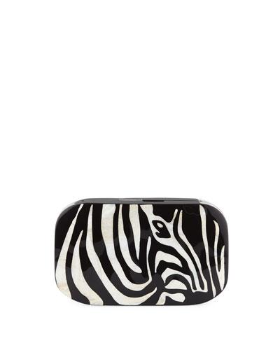 Kiki Zebra Shell Minaudiere Clutch Bag