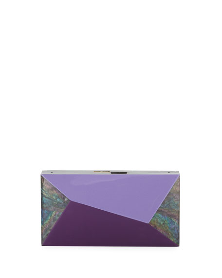 Rafe Melissa Rectangular Rainbow Shell Minaudiere Clutch Bag