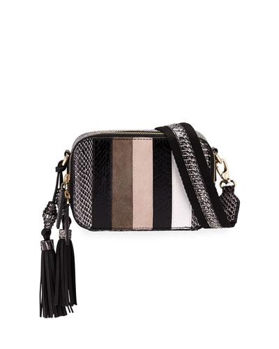 Sophie Snakeskin & Leather Striped Crossbody Camera/Belt Bag