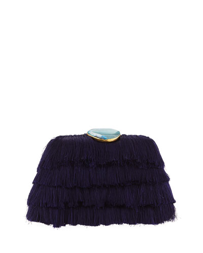 Amanda Fringe Clutch Bag with Agate Clasp