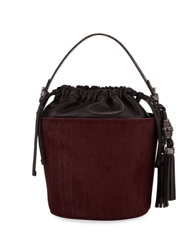 Katrina Fur Drawstring Bucket Bag