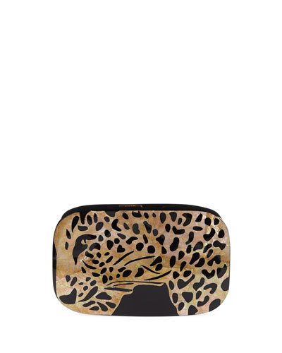 Kiki Leopard Shell Minaudiere Clutch Bag