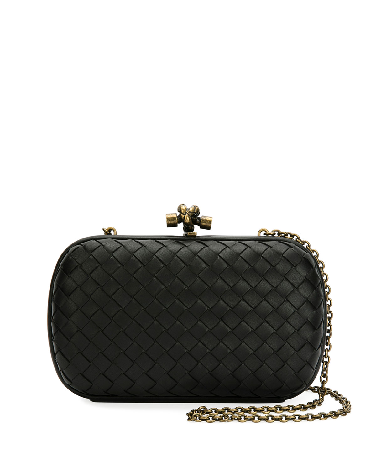 Leather Woven Knot Box Clutch Bag in 1000-Black