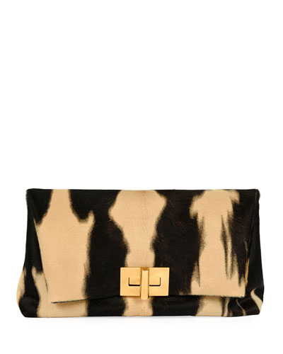 Tie-Dye Baby Calf Turn-Lock Clutch Bag