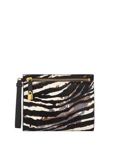 Zebra Baby Calf Wristlet Clutch Bag