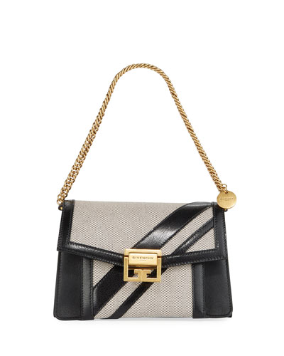GV3 Small Leather & Canvas Shoulder Bag