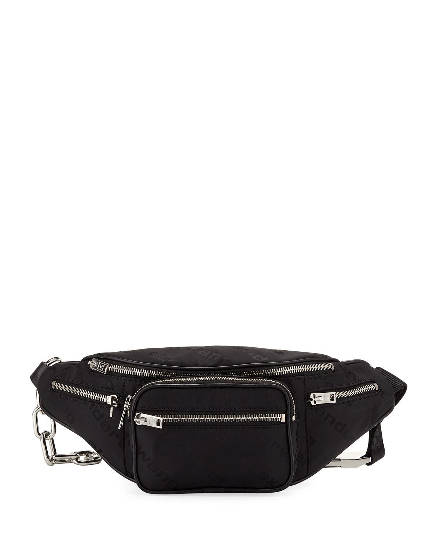 Attica Soft Nylon Multi-Pocket Fanny Pack Bag in Black