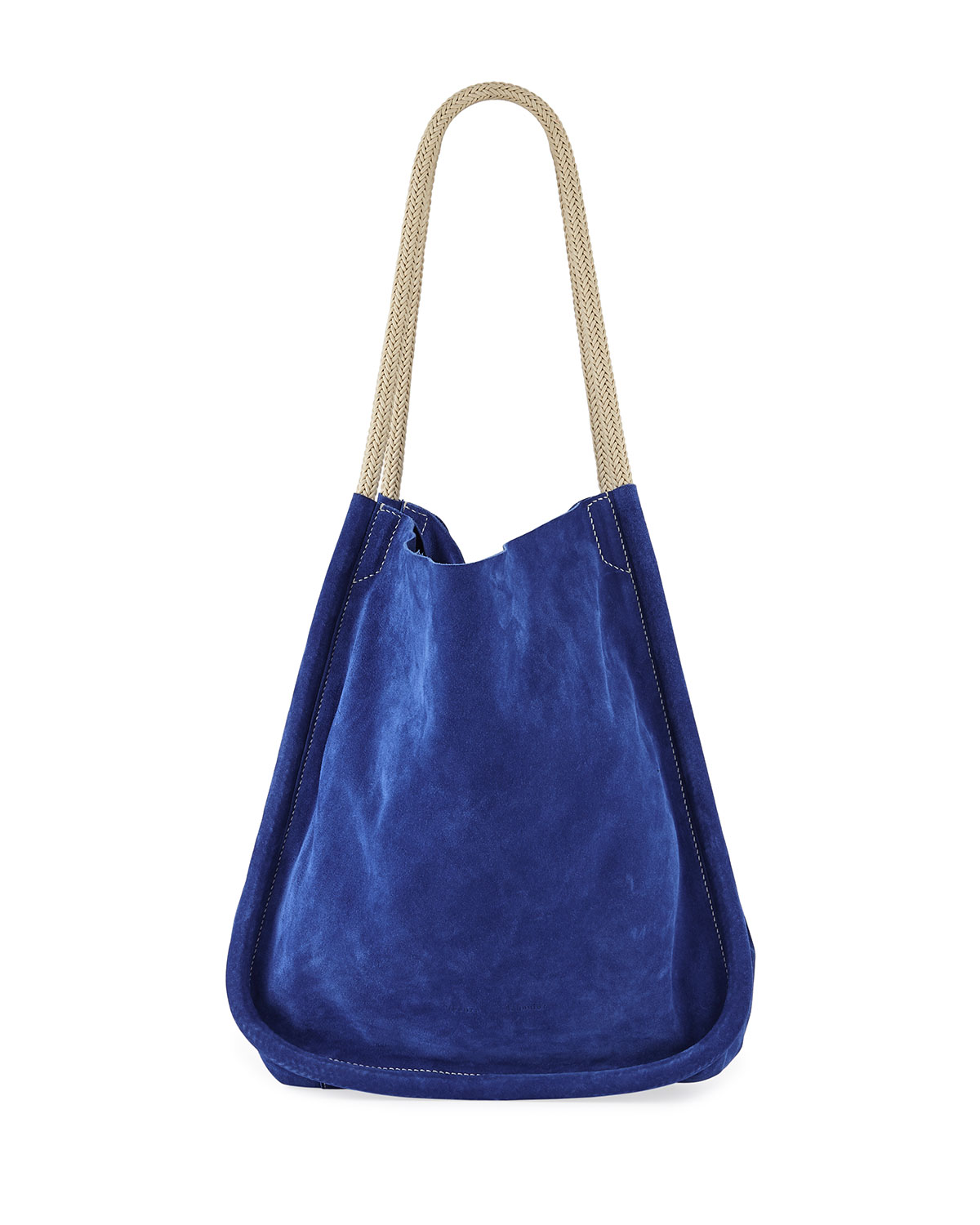 Extra Large Suede Tote Bag With Rope Handles in Bright Blue
