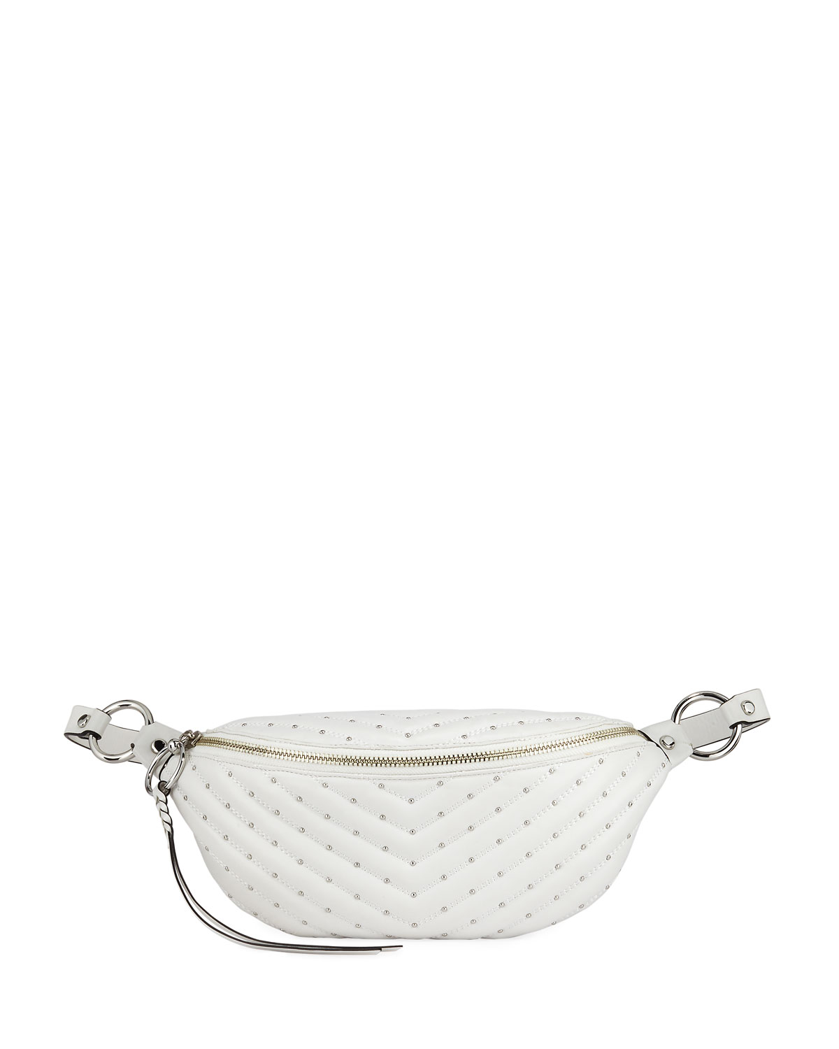 Edie Quilted Sling Belt Bag, White