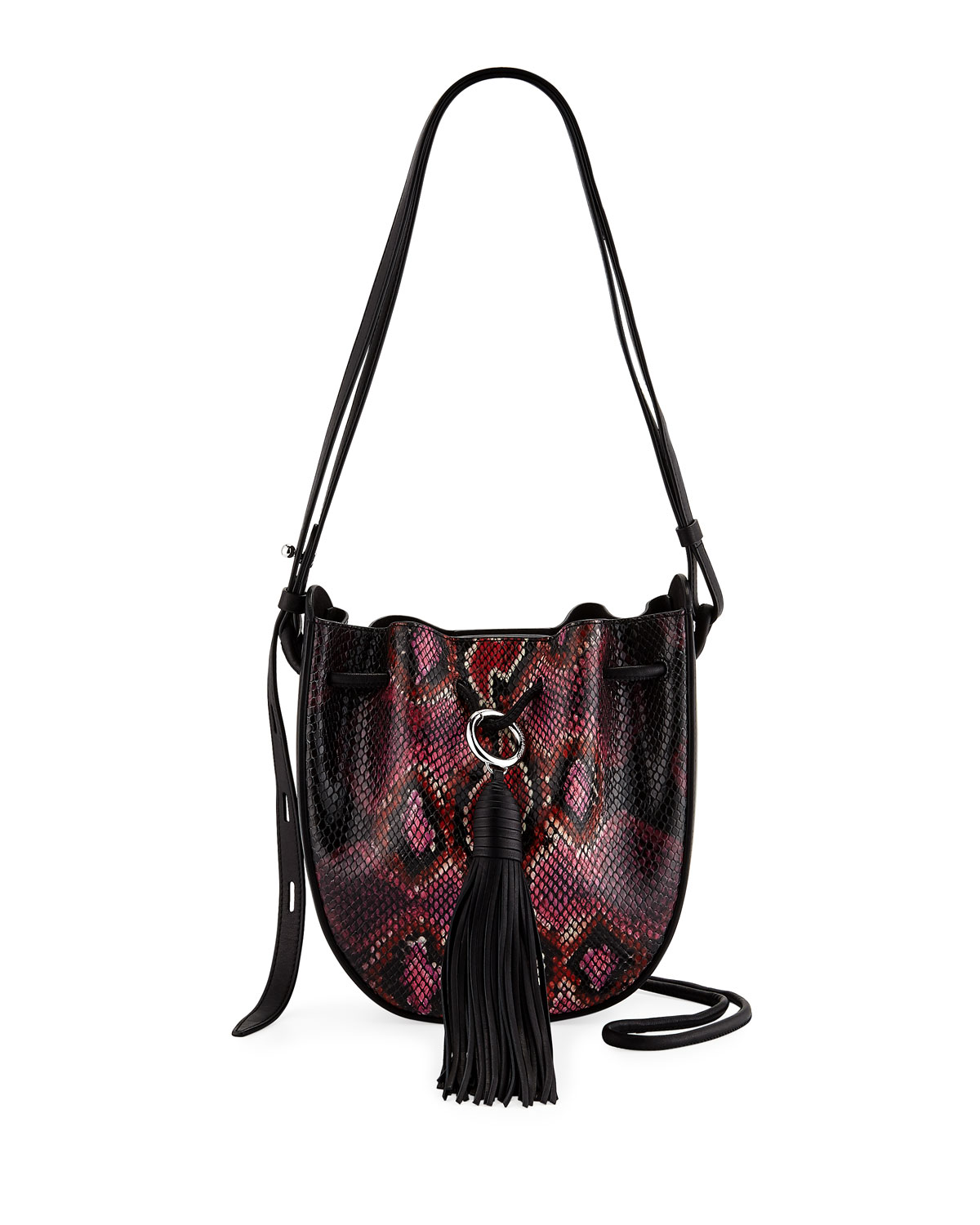 Lulu Snake-Print Leather Tassel Crossbody Bag