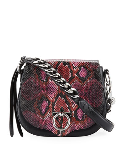 Jean Small Snake-Print Saddle Crossbody Bag