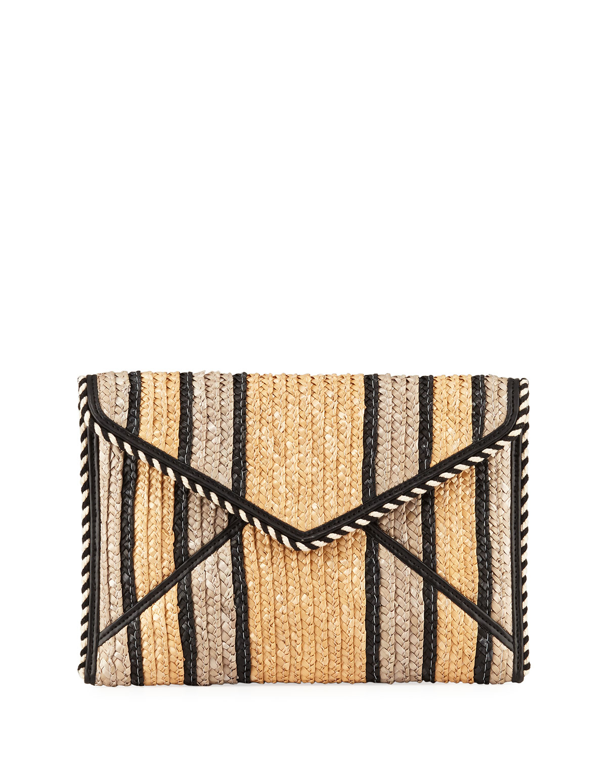 Leo Striped Straw Clutch Bag