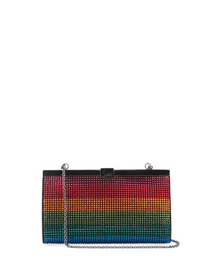 Christian Louboutin Palmette Small Rainbow Crystal Suede Clutch Bag